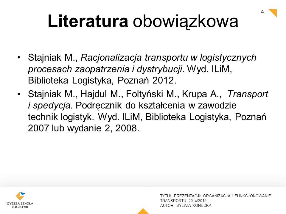 TYTUŁ PREZENTACJI: ORGANIZACJA I FUNKCJONOWANIE TRANSPORTU 2014/2015 AUTOR: SYLWIA KONECKA Literatura zalecana Ekonomika transportu.