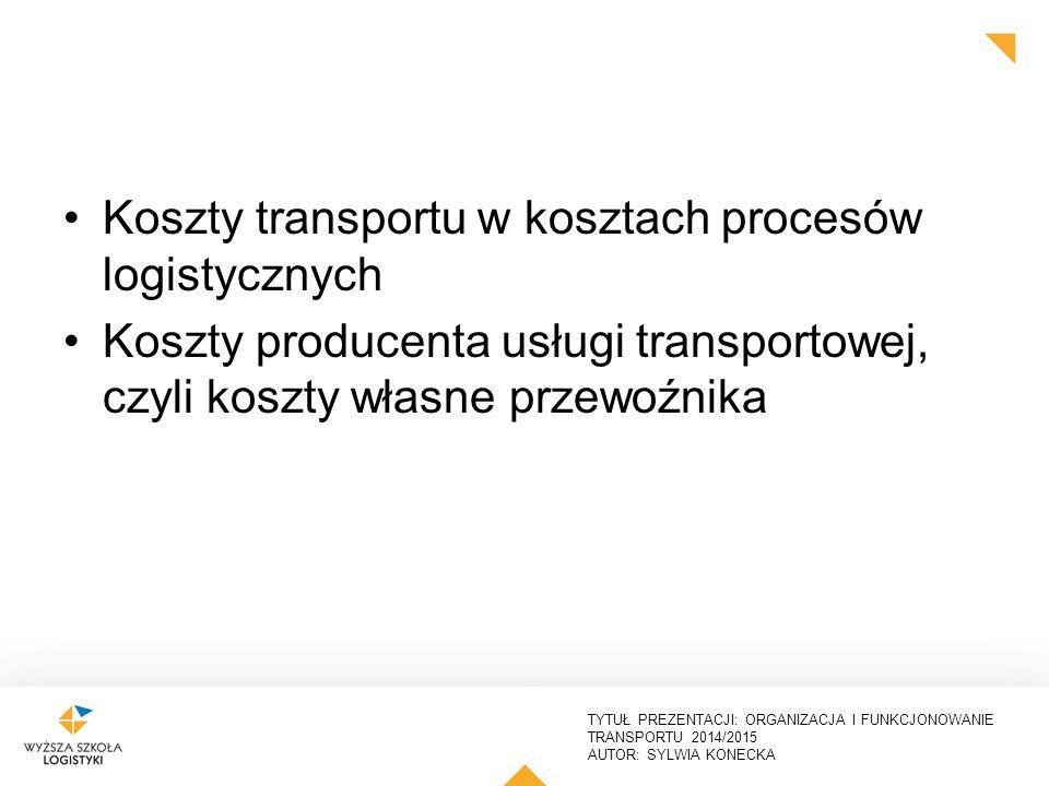 TYTUŁ PREZENTACJI: ORGANIZACJA I FUNKCJONOWANIE TRANSPORTU 2014/2015 AUTOR: SYLWIA KONECKA W każdej z wymienionych faz występują koszty zapasów, magazynowania i transportu ODBIORCYODBIORCYODBIORCYODBIORCY Zaopatrzenie Produkcja Dystrybucja DOST DDOOSSTTAWCAWCYYDDOOSSTTAWCAWCYYY zapasy zapasy zapasy transpor t magazynowanie Kompleksowa analiza kosztów logistyki Koszty transportu w kosztach procesów logistycznych