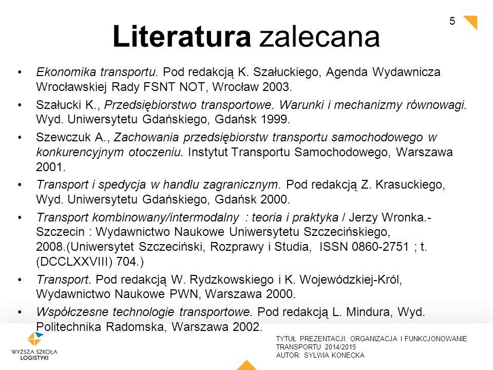 TYTUŁ PREZENTACJI: ORGANIZACJA I FUNKCJONOWANIE TRANSPORTU 2014/2015 AUTOR: SYLWIA KONECKA Literatura, źródła www.logistyka.net.pl www.elabestlog.org www.etransport.pl http://ec.europa.eu/transport/index_en.htm www.psm.pl www.itd.gov.pl www.sugarlogistics.eu www.castle-project.eu www.freightwise.info www.kassetts.eu www.poradnikprzewoźnika.pl 6