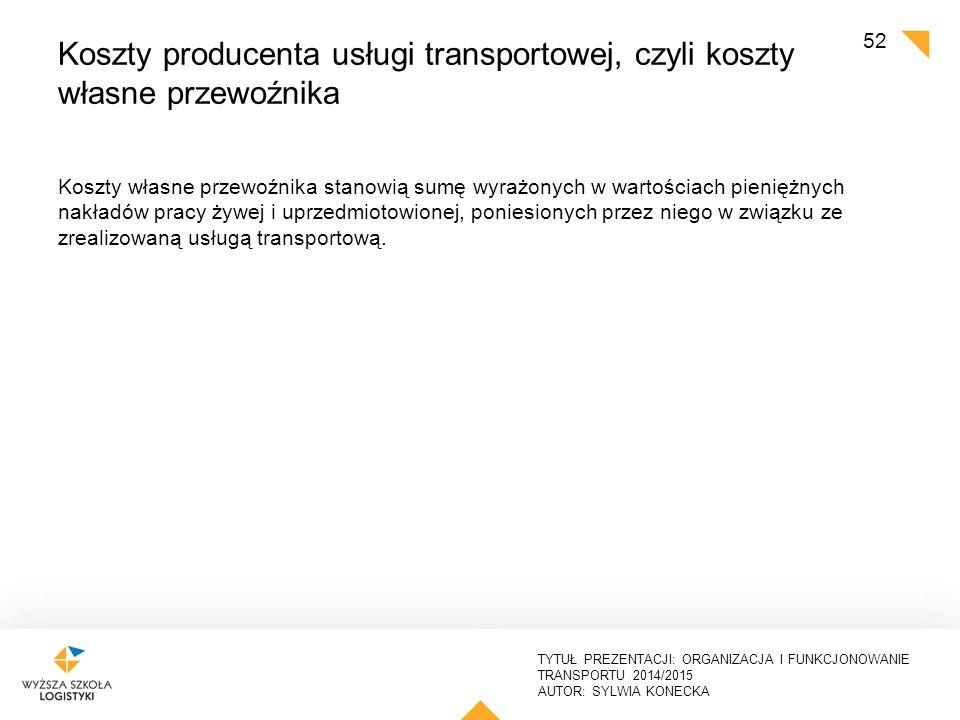 TYTUŁ PREZENTACJI: ORGANIZACJA I FUNKCJONOWANIE TRANSPORTU 2014/2015 AUTOR: SYLWIA KONECKA Koszty transportu Koszty ponoszone przez przedsiębiorstwo na transport osób lub ładunków.
