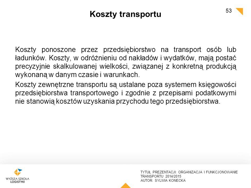 TYTUŁ PREZENTACJI: ORGANIZACJA I FUNKCJONOWANIE TRANSPORTU 2014/2015 AUTOR: SYLWIA KONECKA Koszty transportu Koszty ponoszone przez przedsiębiorstwo n