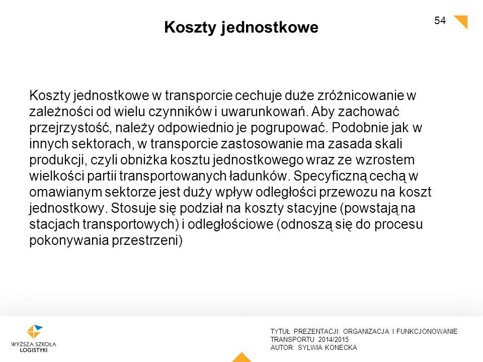 TYTUŁ PREZENTACJI: ORGANIZACJA I FUNKCJONOWANIE TRANSPORTU 2014/2015 AUTOR: SYLWIA KONECKA Koszty jednostkowe Koszty jednostkowe w transporcie cechuje