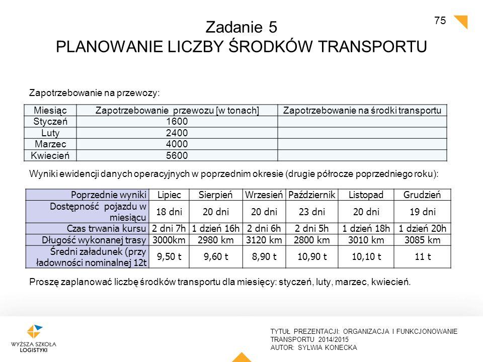 TYTUŁ PREZENTACJI: ORGANIZACJA I FUNKCJONOWANIE TRANSPORTU 2014/2015 AUTOR: SYLWIA KONECKA Zadanie 5 - rozwiązanie PLANOWANIE LICZBY ŚRODKÓW TRANSPORTU Jeżeli średnia długość trasy wynosi 2 dni, a pojazd jest dostępny 20 dni w miesiącu – tzn., że może wykonać 10 kursów w ciągu miesiąca.
