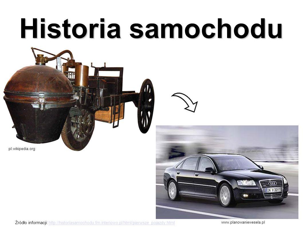 Historia samochodu pl.wikipedia.org www.planowaniewesela.pl Źródło informacji: http://historiasamochodu.fm.interiowo.pl/html/pierwsze_pojazdy.htmlhttp