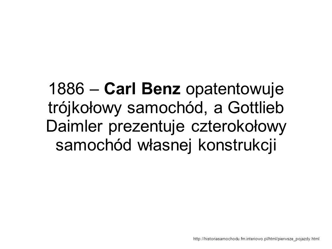 1886 – Carl Benz opatentowuje trójkołowy samochód, a Gottlieb Daimler prezentuje czterokołowy samochód własnej konstrukcji http://historiasamochodu.fm