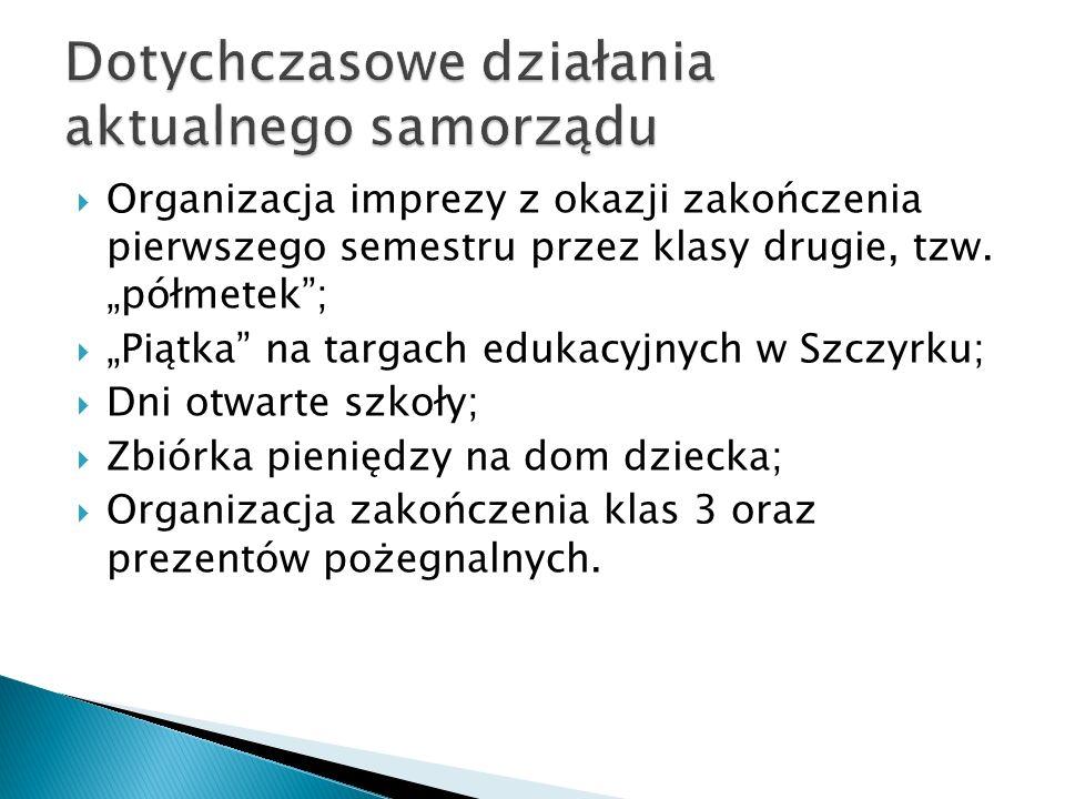 """ Organizacja imprezy z okazji zakończenia pierwszego semestru przez klasy drugie, tzw. """"półmetek"""";  """"Piątka"""" na targach edukacyjnych w Szczyrku;  D"""