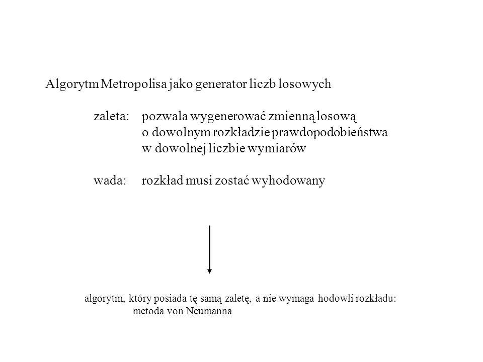 Algorytm Metropolisa jako generator liczb losowych zaleta: pozwala wygenerować zmienną losową o dowolnym rozkładzie prawdopodobieństwa w dowolnej liczbie wymiarów wada:rozkład musi zostać wyhodowany algorytm, który posiada tę samą zaletę, a nie wymaga hodowli rozkładu: metoda von Neumanna