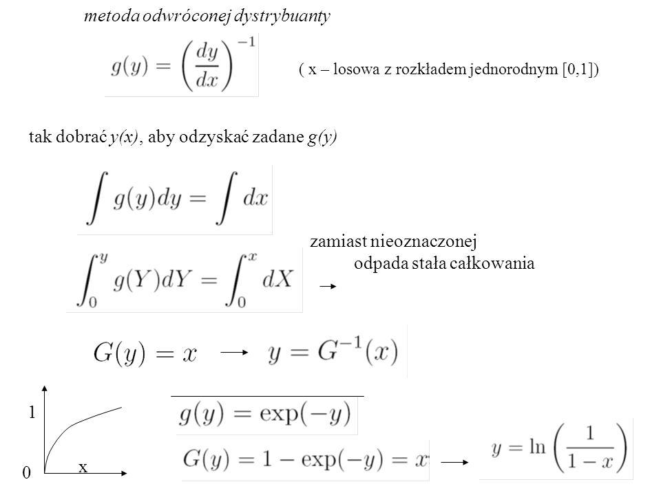 metoda odwróconej dystrybuanty tak dobrać y(x), aby odzyskać zadane g(y) zamiast nieoznaczonej odpada stała całkowania x 1 0 ( x – losowa z rozkładem jednorodnym [0,1])