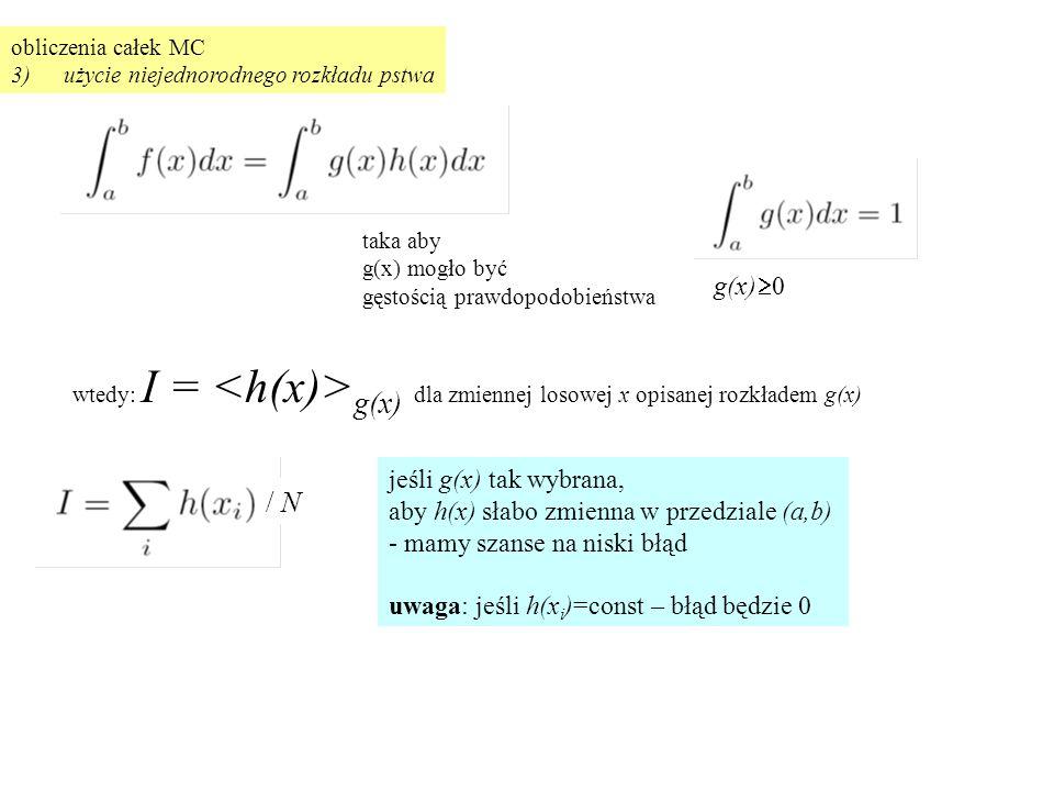 obliczenia całek MC 3)użycie niejednorodnego rozkładu pstwa g(x)  0 taka aby g(x) mogło być gęstością prawdopodobieństwa wtedy: I = g(x) dla zmiennej losowej x opisanej rozkładem g(x) jeśli g(x) tak wybrana, aby h(x) słabo zmienna w przedziale (a,b) - mamy szanse na niski błąd uwaga: jeśli h(x i )=const – błąd będzie 0 / N