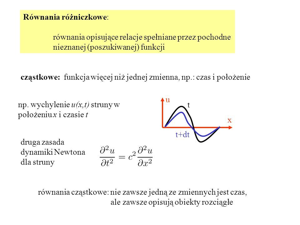 Równania różniczkowe: równania opisujące relacje spełniane przez pochodne nieznanej (poszukiwanej) funkcji cząstkowe: funkcja więcej niż jednej zmienna, np.: czas i położenie u x t t+dt np.