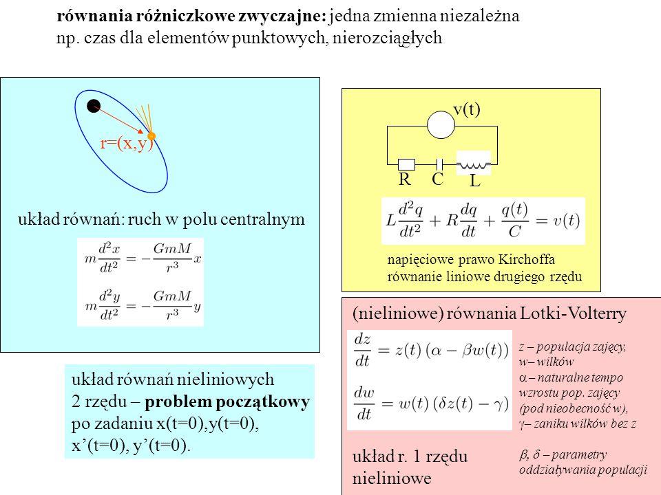 równania różniczkowe zwyczajne: jedna zmienna niezależna np.