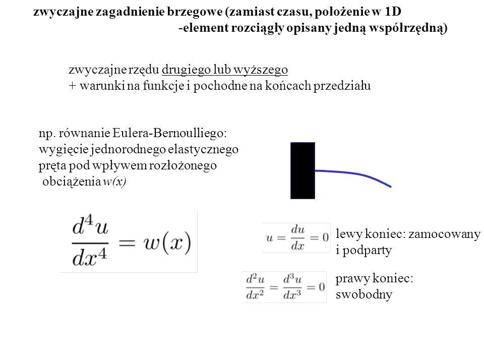 zwyczajne zagadnienie brzegowe (zamiast czasu, położenie w 1D -element rozciągły opisany jedną współrzędną) np.