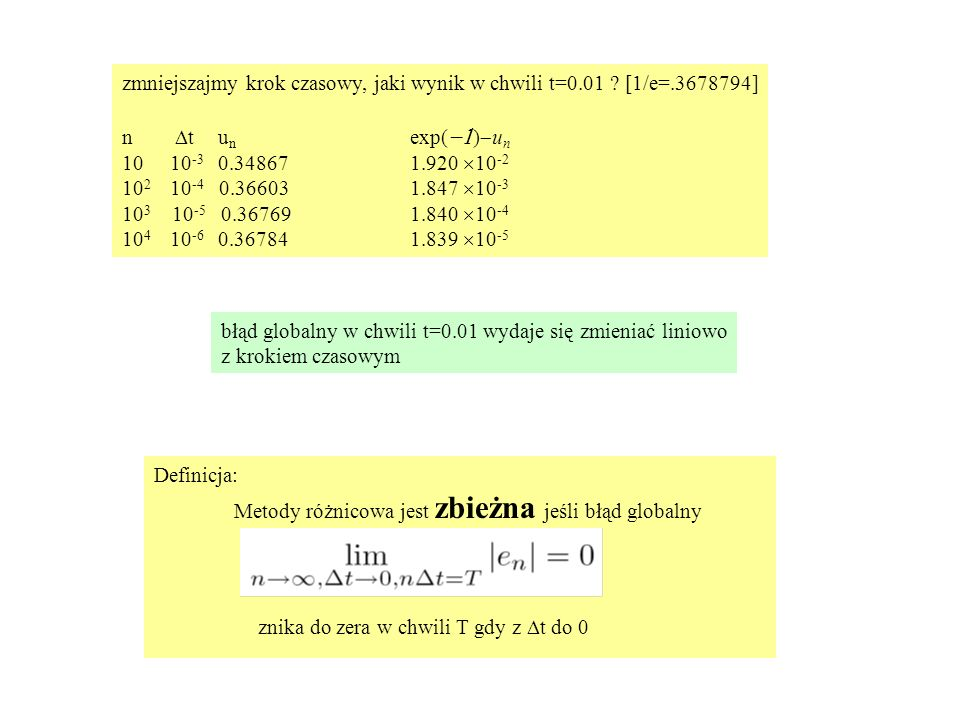 Definicja: Metody różnicowa jest zbieżna jeśli błąd globalny znika do zera w chwili T gdy z  t do 0 zmniejszajmy krok czasowy, jaki wynik w chwili t=0.01 .