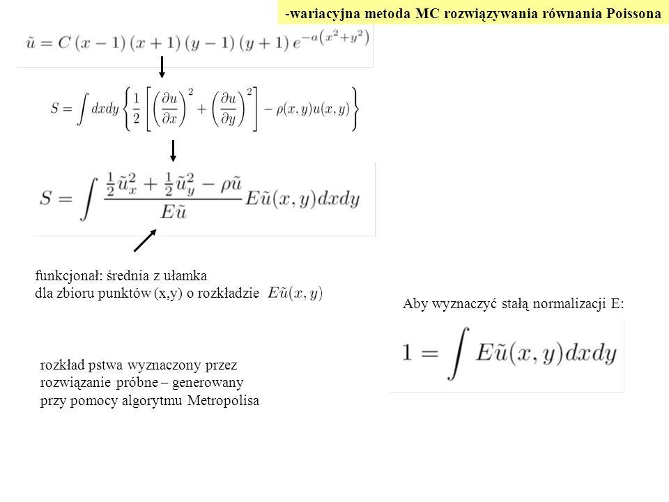 Aby wyznaczyć stałą normalizacji E: funkcjonał: średnia z ułamka dla zbioru punktów (x,y) o rozkładzie -wariacyjna metoda MC rozwiązywania równania Po