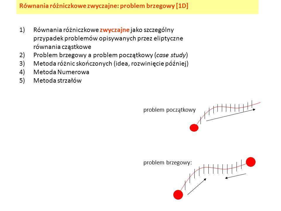 1)Równania różniczkowe zwyczajne jako szczególny przypadek problemów opisywanych przez eliptyczne równania cząstkowe 2)Problem brzegowy a problem początkowy (case study) 3)Metoda różnic skończonych (idea, rozwinięcie później) 4)Metoda Numerowa 5)Metoda strzałów Równania różniczkowe zwyczajne: problem brzegowy [1D] problem początkowy problem brzegowy: