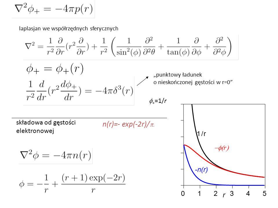 """""""punktowy ładunek o nieskończonej gęstości w r=0 laplasjan we współrzędnych sferycznych  + =1/r 012345 r -n(r) 1/r  r  składowa od gęstości elektronowej n(r)=- exp(-2r)/ """