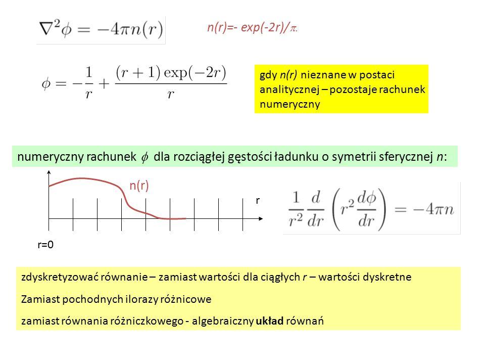 gdy n(r) nieznane w postaci analitycznej – pozostaje rachunek numeryczny n(r)=- exp(-2r)/  numeryczny rachunek  dla rozciągłej gęstości ładunku o symetrii sferycznej n: zdyskretyzować równanie – zamiast wartości dla ciągłych r – wartości dyskretne Zamiast pochodnych ilorazy różnicowe zamiast równania różniczkowego - algebraiczny układ równań r r=0 n(r)