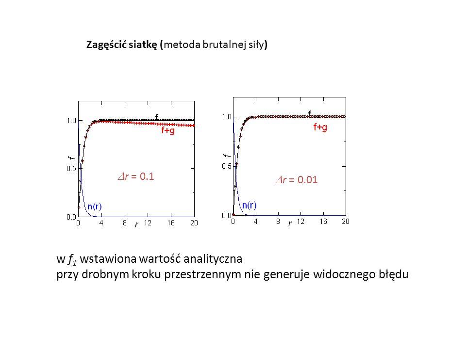  r = 0.1  r = 0.01 Zagęścić siatkę (metoda brutalnej siły) w f 1 wstawiona wartość analityczna przy drobnym kroku przestrzennym nie generuje widocznego błędu
