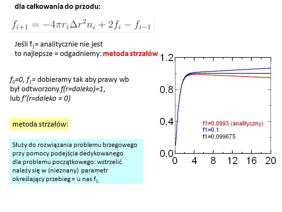 Jeśli f 1 = analitycznie nie jest to najlepsze = odgadniemy: metoda strzałów Służy do rozwiązania problemu brzegowego przy pomocy podejścia dedykowanego dla problemu początkowego: wstrzelić należy się w (nieznany) parametr określający przebieg = u nas f 1.