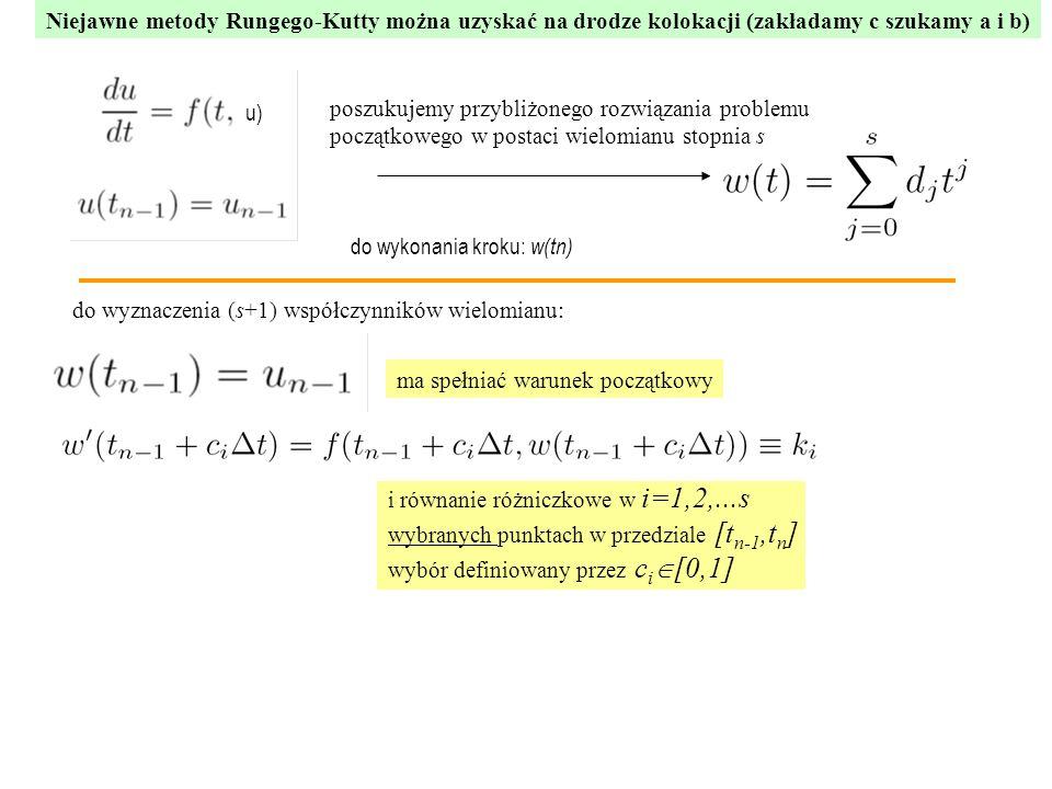 Niejawne metody Rungego-Kutty można uzyskać na drodze kolokacji (zakładamy c szukamy a i b) poszukujemy przybliżonego rozwiązania problemu początkowego w postaci wielomianu stopnia s do wyznaczenia (s+1) współczynników wielomianu: ma spełniać warunek początkowy i równanie różniczkowe w i=1,2,...s wybranych punktach w przedziale [t n-1,t n ] wybór definiowany przez c i  [0,1] u) do wykonania kroku: w(tn)