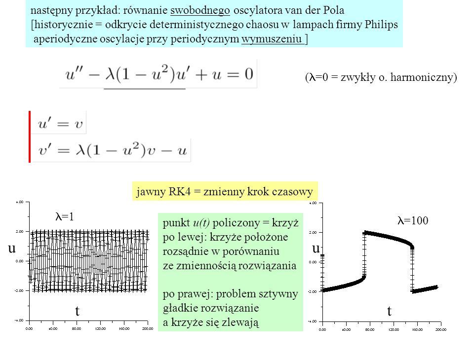 niejawna metoda Rungego-Kutty w jednej odsłonie (metoda rzędu dokładności 2) 1/2 1 tabela Butchera maksymalny rząd metody RK w s odsłonach wynosi 2s najdokładniejsza niejawna metoda Rungego-Kutty w 2 odsłonach - rząd dokładności 4 jak jawne RK4 dla najdokładniejszych niejawnych RK nie używamy chwili t n-1, ani chwili t n tylko c danych przez mapowanie zer wielomianów Legendre'a do przedziału [0,1] (patrz dalej)