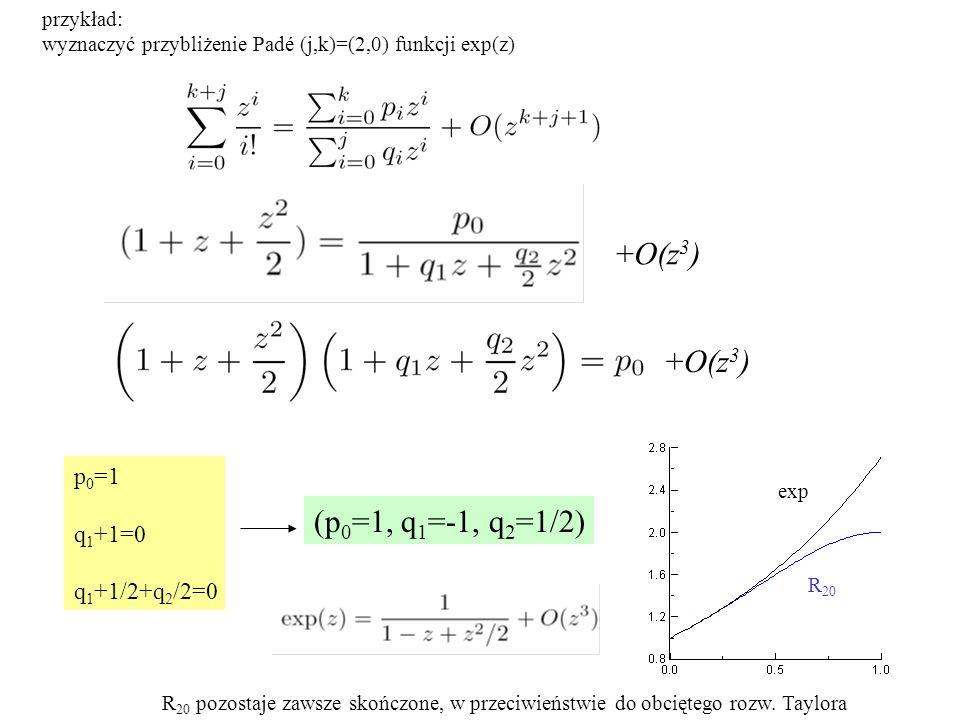 przykład: wyznaczyć przybliżenie Padé (j,k)=(2,0) funkcji exp(z) p 0 =1 q 1 +1=0 q 1 +1/2+q 2 /2=0 (p 0 =1, q 1 =-1, q 2 =1/2) exp R 20 R 20 pozostaje zawsze skończone, w przeciwieństwie do obciętego rozw.