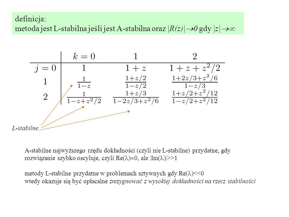 definicja: metoda jest L-stabilna jeśli jest A-stabilna oraz |R(z)|  0 gdy |z|  L-stabilne A-stabilne najwyższego rzędu dokładności (czyli nie L-stabilne) przydatne, gdy rozwiązanie szybko oscyluje, czyli Re( )  0, ale |Im( )|>>1 metody L-stabilne przydatne w problemach sztywnych gdy Re( )<<0 wtedy okazuje się być opłacalne zrezygnować z wysokiej dokładności na rzecz stabilności