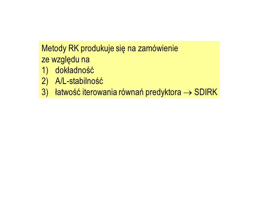 Metody RK produkuje się na zamówienie ze względu na 1)dokładność 2)A/L-stabilność 3)łatwość iterowania równań predyktora  SDIRK