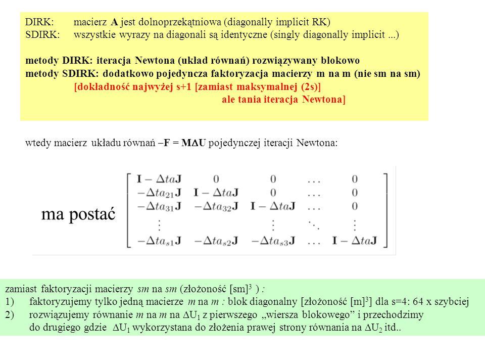 """DIRK: macierz A jest dolnoprzekątniowa (diagonally implicit RK) SDIRK:wszystkie wyrazy na diagonali są identyczne (singly diagonally implicit...) metody DIRK: iteracja Newtona (układ równań) rozwiązywany blokowo metody SDIRK: dodatkowo pojedyncza faktoryzacja macierzy m na m (nie sm na sm) [dokładność najwyżej s+1 [zamiast maksymalnej (2s)] ale tania iteracja Newtona] wtedy macierz układu równań –F = M  U pojedynczej iteracji Newtona: zamiast faktoryzacji macierzy sm na sm (złożoność [sm] 3 ) : 1)faktoryzujemy tylko jedną macierze m na m : blok diagonalny [złożoność [m] 3 ] dla s=4: 64 x szybciej 2)rozwiązujemy równanie m na m na  U 1 z pierwszego """"wiersza blokowego i przechodzimy do drugiego gdzie  U 1 wykorzystana do złożenia prawej strony równania na  U 2 itd.."""