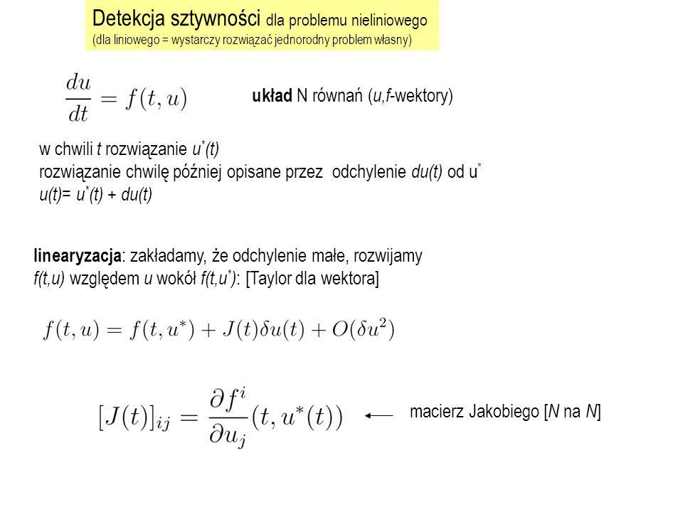 u(t)= u * (t) + du(t) po wyeliminowaniu problem zlinearyzowany w chwili t * : A=J(t * ) rozwiązać problem własny A : dostaniemy wartości własne i : Aby rachunek się powiódł:  t i musi leżeć w regionie stabilności używanej metody dla wszystkich i.