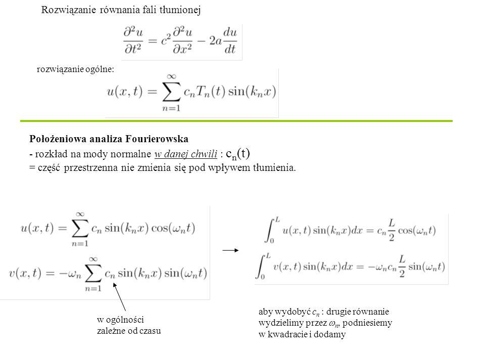 Rozwiązanie równania fali tłumionej Położeniowa analiza Fourierowska - rozkład na mody normalne w danej chwili : c n (t) = część przestrzenna nie zmienia się pod wpływem tłumienia.