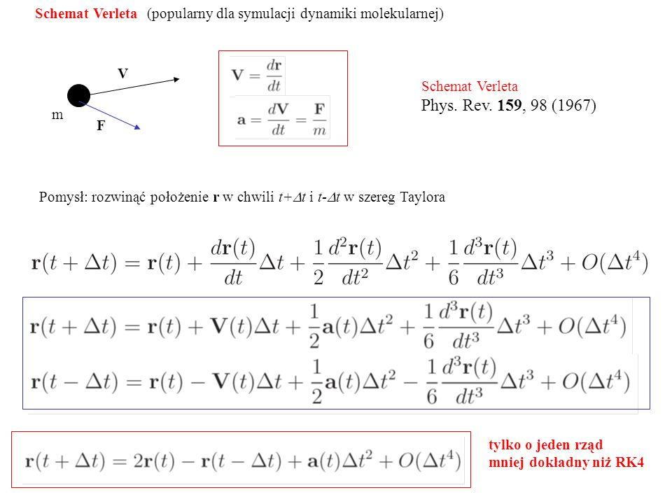 Schemat Verleta (popularny dla symulacji dynamiki molekularnej) V m F Pomysł: rozwinąć położenie r w chwili t+  t i t-  t w szereg Taylora Schemat Verleta Phys.