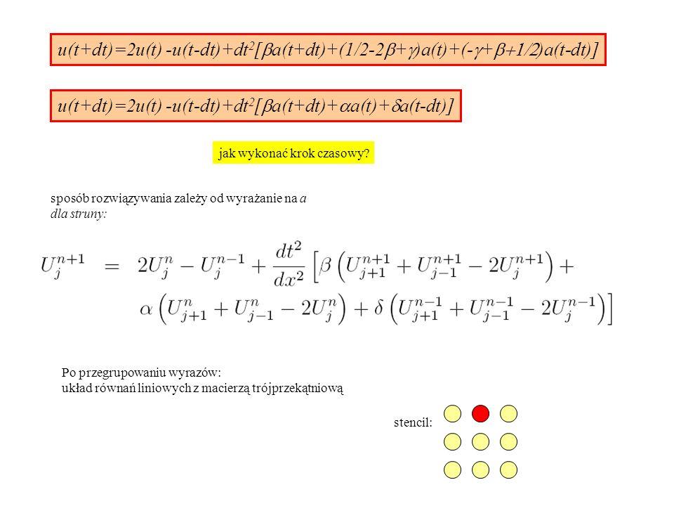 u(t+dt)=2u(t) -u(t-dt)+dt 2 [  a(t+dt)+(1/2-2  +  )a(t)+(-  +  )a(t-dt)] u(t+dt)=2u(t) -u(t-dt)+dt 2 [  a(t+dt)+  a(t)+  a(t-dt)] sposób rozwiązywania zależy od wyrażanie na a dla struny: Po przegrupowaniu wyrazów: układ równań liniowych z macierzą trójprzekątniową stencil: jak wykonać krok czasowy?