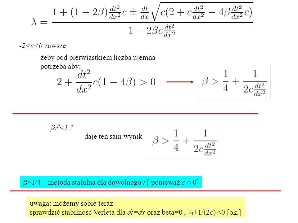 -2<c<0 zawsze żeby pod pierwiastkiem liczba ujemna potrzeba aby:   <1 ? daje ten sam wynik  >1/4 – metoda stabilna dla dowolnego t [ ponieważ c <