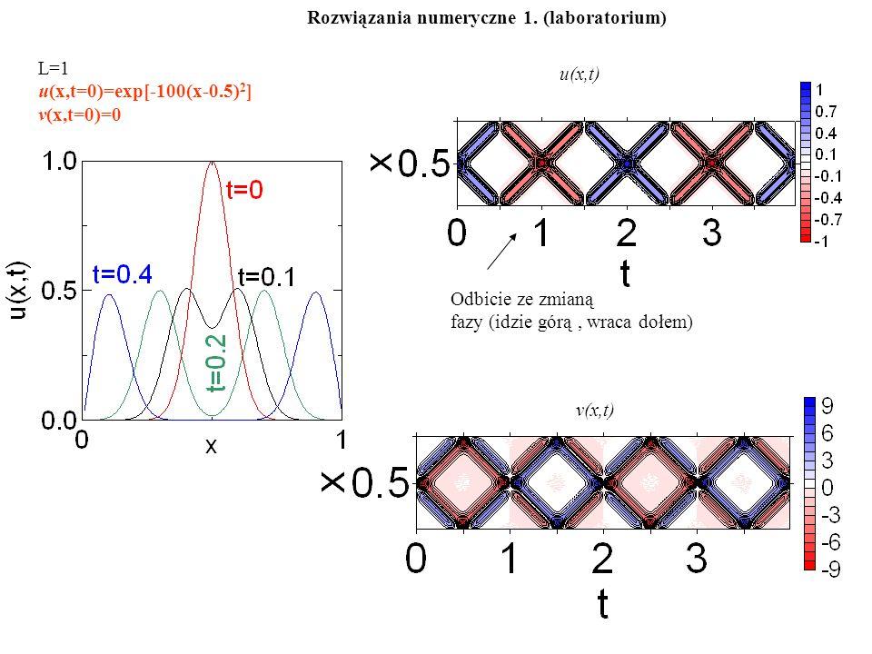 L=1 u(x,t=0)=exp[-100(x-0.5) 2 ] v(x,t=0)=0 u(x,t) v(x,t) Odbicie ze zmianą fazy (idzie górą, wraca dołem) Rozwiązania numeryczne 1.