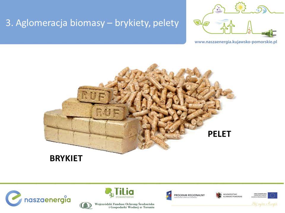 3. Aglomeracja biomasy – brykiety, pelety BRYKIET PELET
