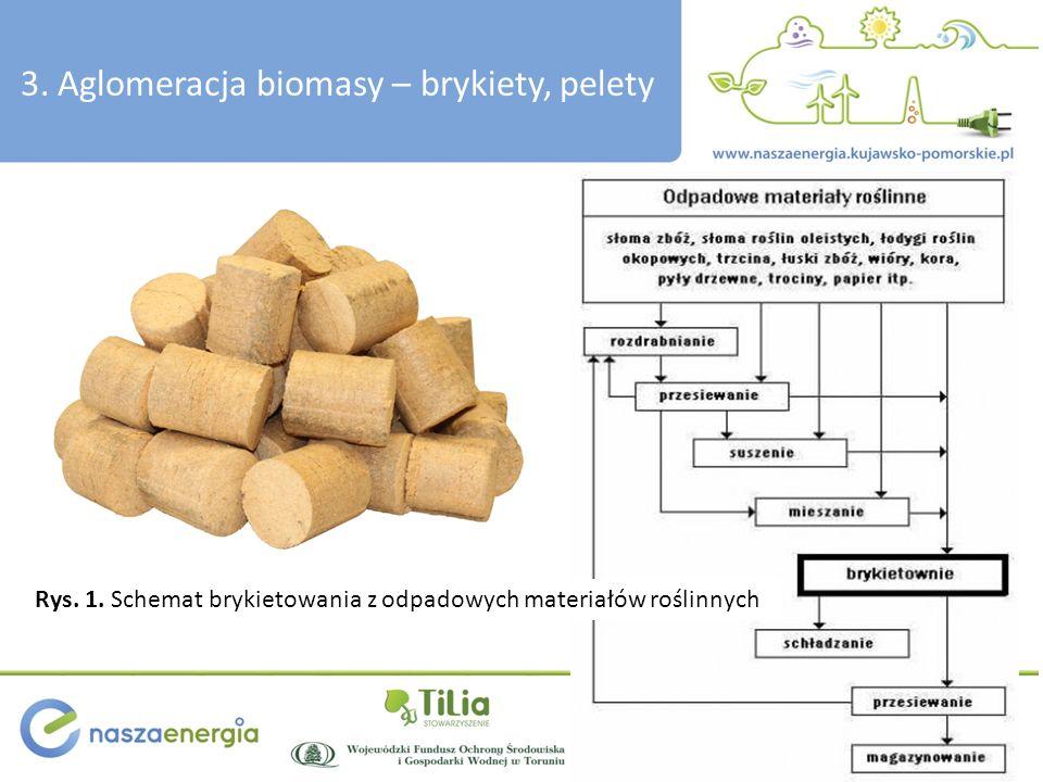3. Aglomeracja biomasy – brykiety, pelety Rys. 1. Schemat brykietowania z odpadowych materiałów roślinnych