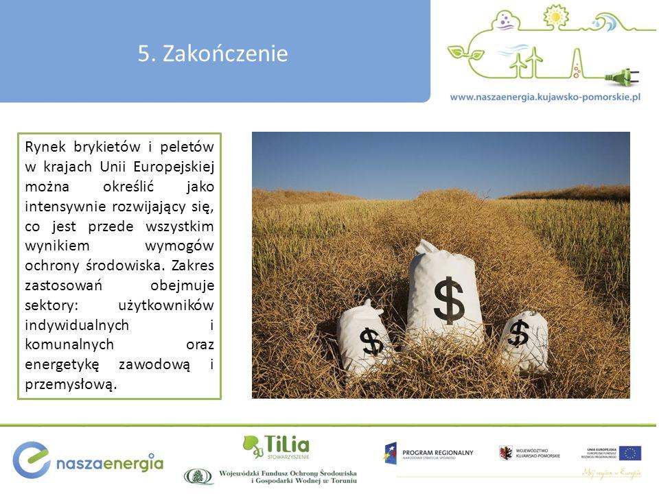 5. Zakończenie Rynek brykietów i peletów w krajach Unii Europejskiej można określić jako intensywnie rozwijający się, co jest przede wszystkim wynikie