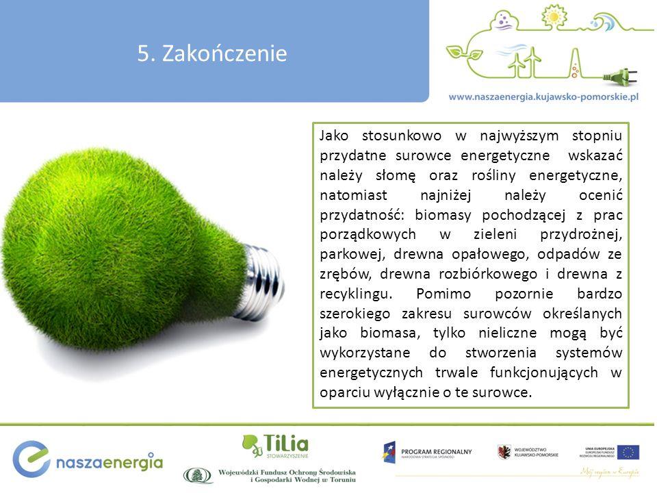 5. Zakończenie Jako stosunkowo w najwyższym stopniu przydatne surowce energetyczne wskazać należy słomę oraz rośliny energetyczne, natomiast najniżej