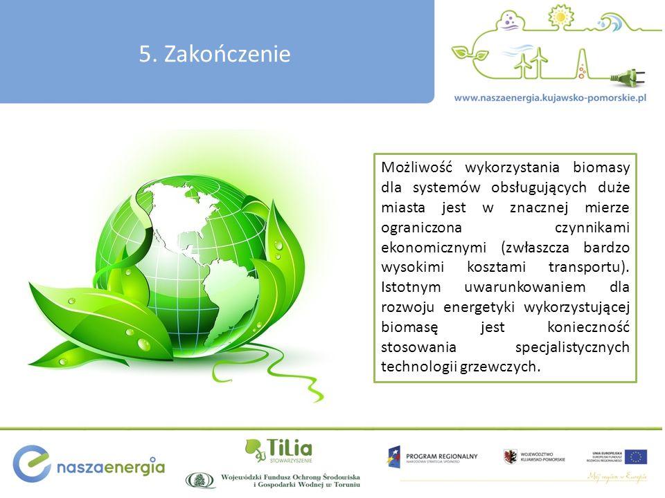 5. Zakończenie Możliwość wykorzystania biomasy dla systemów obsługujących duże miasta jest w znacznej mierze ograniczona czynnikami ekonomicznymi (zwł