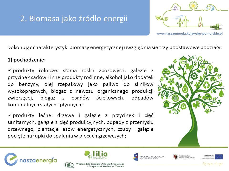 2. Biomasa jako źródło energii 1) pochodzenie: produkty rolnicze: słoma roślin zbożowych, gałęzie z przycinek sadów i inne produkty roślinne, alkohol