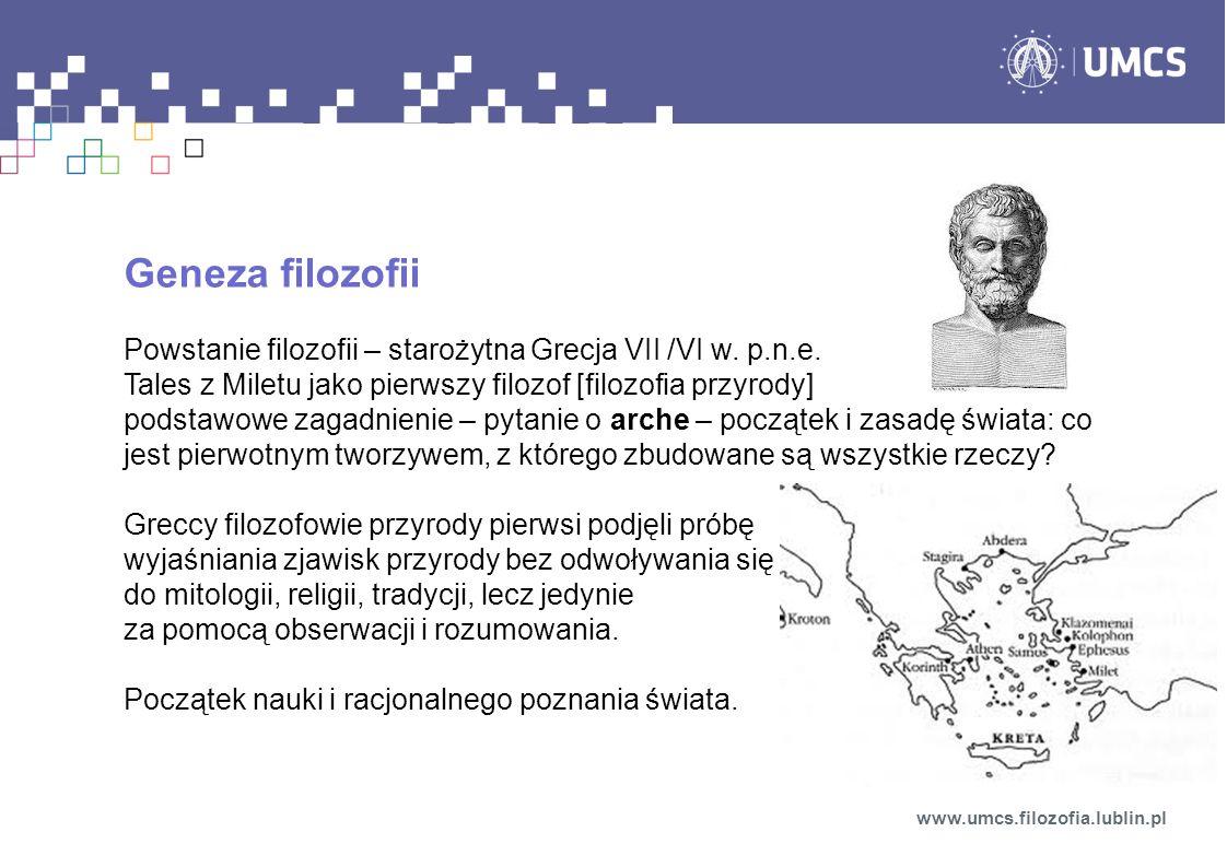 Geneza filozofii Powstanie filozofii – starożytna Grecja VII /VI w.