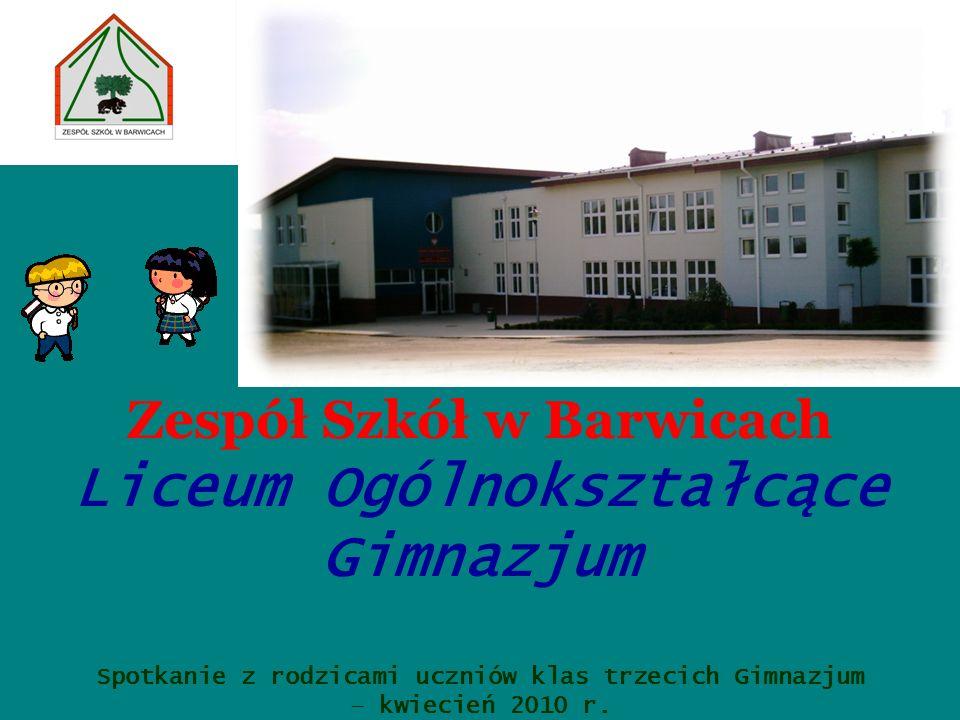 Zespół Szkół w Barwicach Liceum Ogólnokształcące Gimnazjum Spotkanie z rodzicami uczniów klas trzecich Gimnazjum – kwiecień 2010 r.