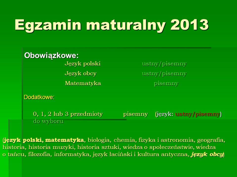 Egzamin maturalny 2013 Obowiązkowe: Język polski ustny/pisemny Język obcy ustny/pisemny Matematyka pisemny Dodatkowe: 0, 1, 2 lub 3 przedmioty pisemny