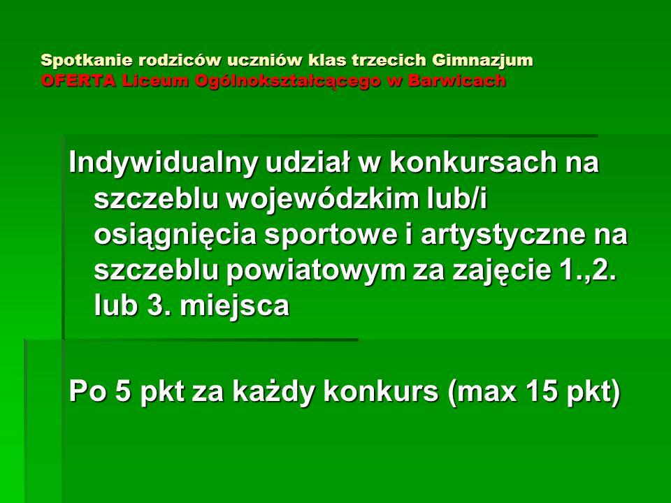 Spotkanie rodziców uczniów klas trzecich Gimnazjum OFERTA Liceum Ogólnokształcącego w Barwicach Indywidualny udział w konkursach na szczeblu wojewódzk