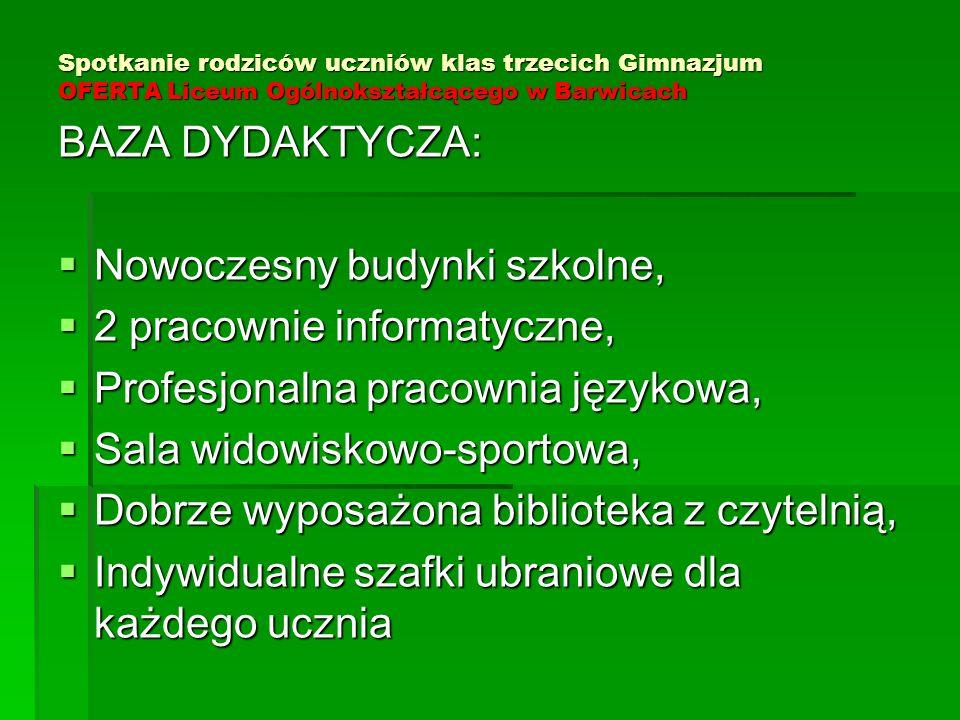 Spotkanie rodziców uczniów klas trzecich Gimnazjum OFERTA Liceum Ogólnokształcącego w Barwicach BAZA DYDAKTYCZA:  Nowoczesny budynki szkolne,  2 pra