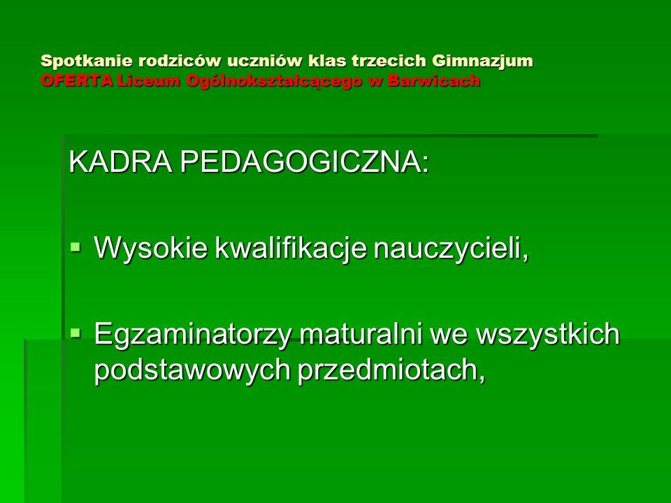 Spotkanie rodziców uczniów klas trzecich Gimnazjum OFERTA Liceum Ogólnokształcącego w Barwicach KADRA PEDAGOGICZNA:  Wysokie kwalifikacje nauczycieli,  Egzaminatorzy maturalni we wszystkich podstawowych przedmiotach,