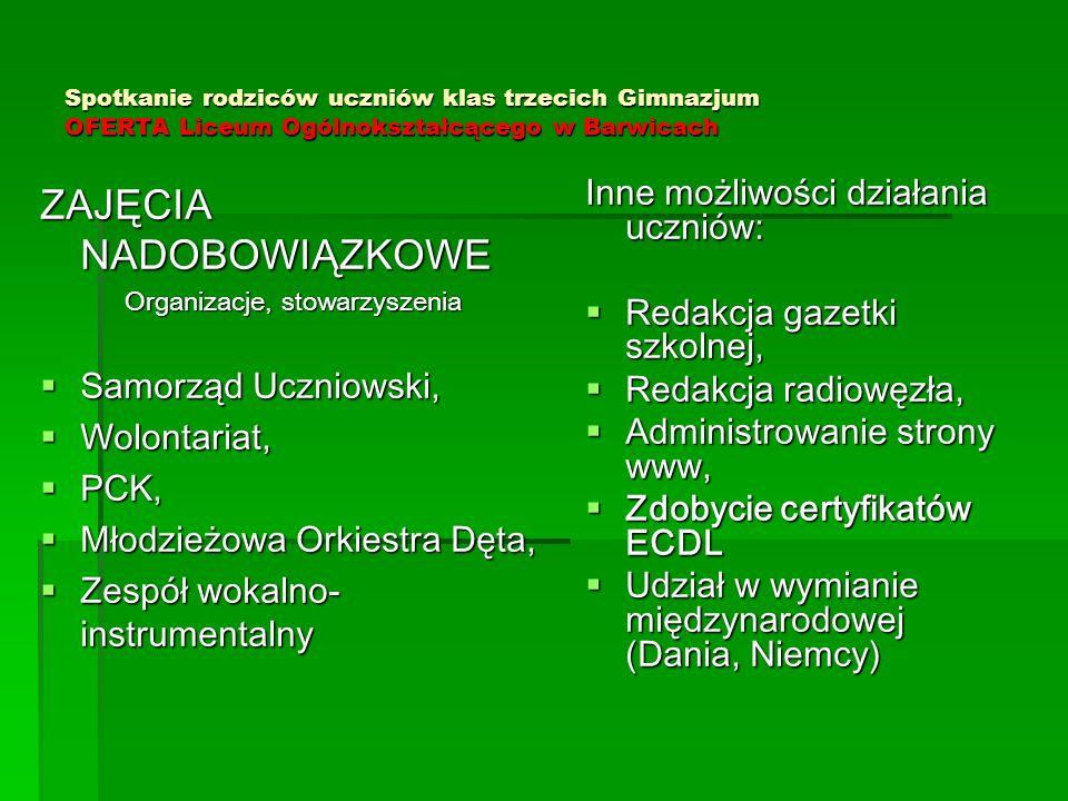 Spotkanie rodziców uczniów klas trzecich Gimnazjum OFERTA Liceum Ogólnokształcącego w Barwicach ZAJĘCIA NADOBOWIĄZKOWE Organizacje, stowarzyszenia  S