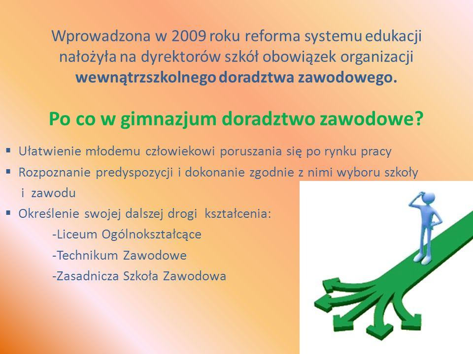 Wprowadzona w 2009 roku reforma systemu edukacji nałożyła na dyrektorów szkół obowiązek organizacji wewnątrzszkolnego doradztwa zawodowego.