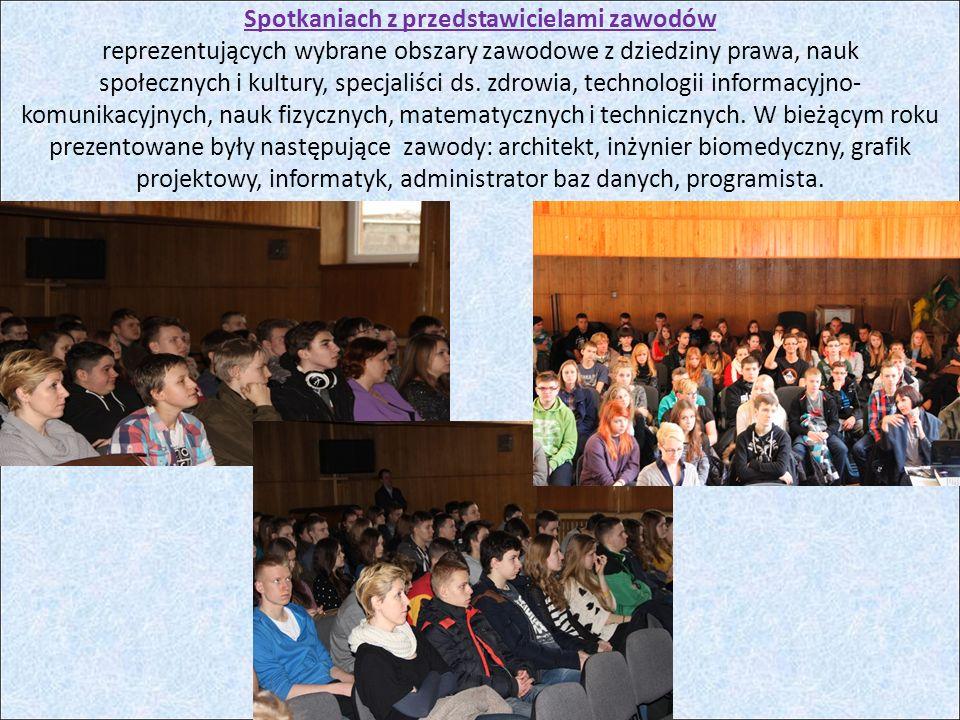Spotkaniach z przedstawicielami zawodów reprezentujących wybrane obszary zawodowe z dziedziny prawa, nauk społecznych i kultury, specjaliści ds.